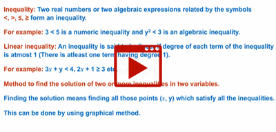 Method to solve system of linear inequalities-class-12th