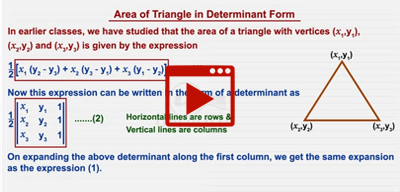 Area of a triangle using determinants-class-12th
