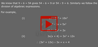 Division of algebraic expressions-class-8th