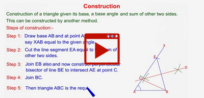 Another way to draw a triangle with given base , a base angle and sum of other two sides-class-9th