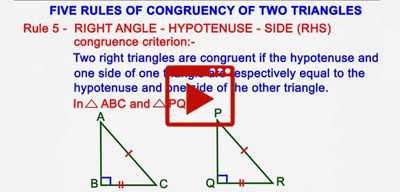 Five rules of congruency of two triangles-class-9th